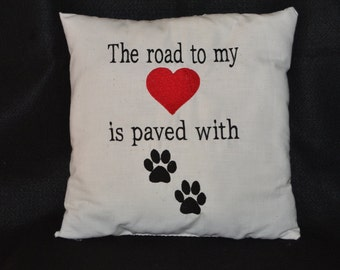 Pets,Embroidered Pillow,Pet Lovers,Furry Family, Throw Pillow,Pet Remembrance,Dogs,Cats,Home Decor,Pawprints