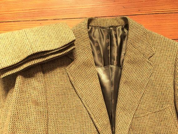Vintage 60s Sadowski Gold Blue Tweed Suit 36 32x29 0CEYr6O4