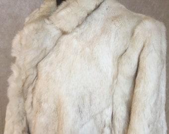 1980s Vintage White Rabbit Fur Jacket Coat S M