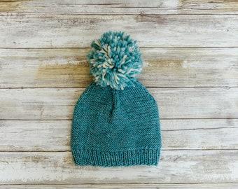 Knit Hat, Childs Slouchy Pom Pom Hat, Kids Knit Beanie, knit, beanie, slouch hat