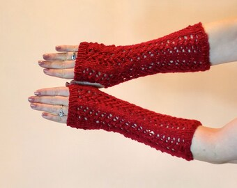 Fingerless Gloves - Shimmery Red Lace Arm Warmers - EDM Festival Sparkly Arm Sleeves, Fancy Women Sparkling Texting Mitts Gauntlets,