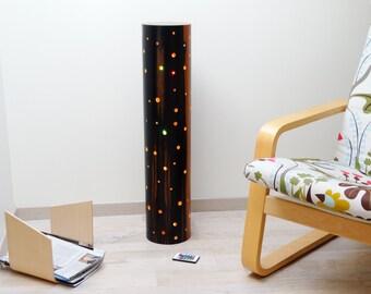 Wooden lamp (ebony), wooden cylinder lamp, multicolor lighting lamp, LED lighting lamp, lamp in curved plywood