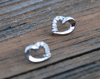 Elegant, Cubic Zirconia, Silver, HEART Studs, Sterling Silver Posts, Heart earrings, Birthday gift, monther's day gift, anniversary gift