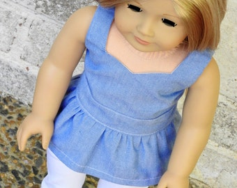 Trendy 18 Inch Doll Clothes Handmade Peplum Top and Skinny White Jeans