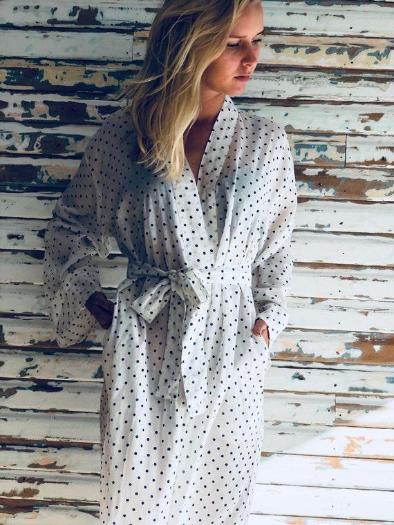 Kiyomi Black Bagru Print Maxi Kimono Robe Dressing Gown 100 Indian