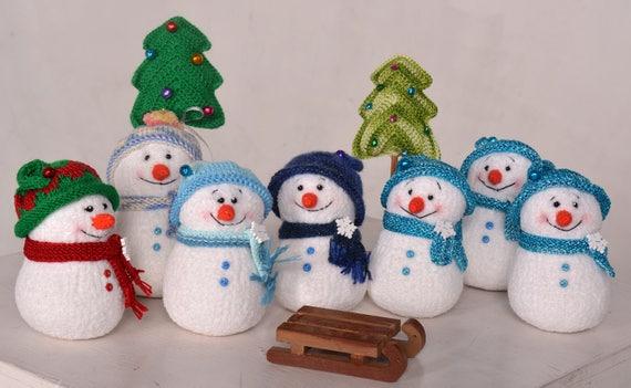 Amigurumi Snowman : Christmas snowman toy knitted toy amigurumi snowman stuffed