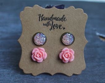 Peach Sugar Rose Druzy Earring Set, Glitter Rose Studs, Druzy Earrings, Earring Set