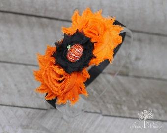 Halloween Pumpkin Headband - Halloween Headband - Orange and Black Headband - Fall Headband - Baby Headband - Adult Headband