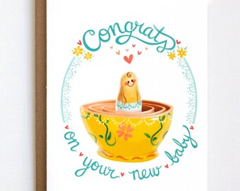 Congrats New Baby Card, Welcome Baby Card, New Parents