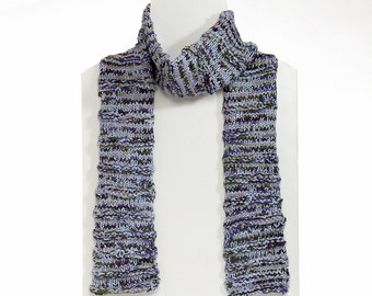 Hand Knit Chunky Scarf in Baby Blue, Green and Purple. Gender Neutral.