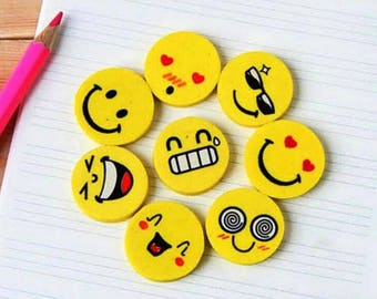 Lot of 20 pcs Smile Emoji Smiley Face Erasers Rubber For Pencil Kid Funny Cute Stationery Novelty Eraser Office Accessories School Supplies