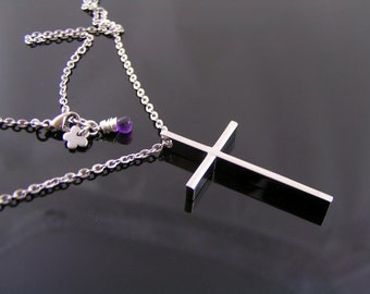 Cross Necklace, Christian Jewelry, Classic Cross Jewelry, Christian Cross Necklace, Customizable Necklace, Birthstone available, N1263