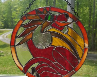 Stained Glass Red Fire-Breathing Dragon