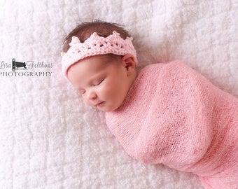 Baby crown, Baby girl, Baby headband, Crochet princess crown, Crochet crown, Crochet photo prop, preemie girl