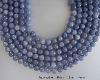 SALE. Natural Aquamarine Bead Strands, Round, Aquamarine,  6mm, 10mm, Hole: 1mm; about 15inch. (BD-A336-338)