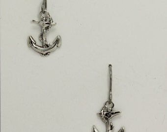 Silver anchor earrings on hypoallergenic surgical steel ear wires