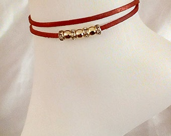Red anklet, suede anklet, rhinestone anklet, beaded anklet, red glitter anklet, layered anklet, party jewellery, diamante anklet, gold beads