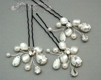 3 Bridal Hair Pins Set, Pearl Rhinestone Wedding Hair Accessories, White Swarovski Pearl Rhinestone Silver Hairpins  H1016