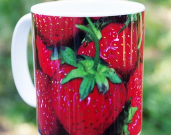 Strawberries, nature inspired Ceramic mug, 11 or 15 oz | food art kitchen decor, Christmas, housewarming gift for her gift for him 1156b