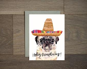 Feliz Cumpleanos carte de joyeux anniversaire, carte d'anniversaire drôle d'anniversaire, carte d'anniversaire, Carlin