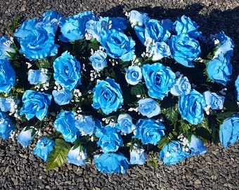 Blue Cemetery Flowers ~ Super Large / Headstone Saddle or Ground Decoration / Grave Flowers / Monument Flowers / Memorial Flowers