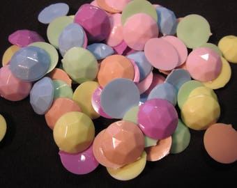 70 Talisman 20mm round opaque pastel plastic jewels, pink,yellow,orange,blue,green,lavender, for fashion art or decorating