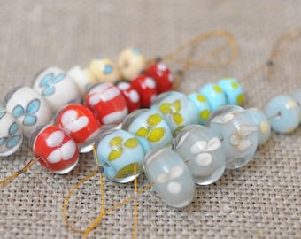 Jewelry Components Glass Lampwork Bead Flowers Set Light Blue Ivory Red Dark Turquoise Light Blue 6 Beads