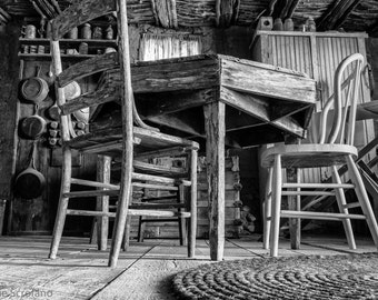 Ghost Town, Giclee, Black and White, Abandoned Place, Kitchen table , Gritty Wall Art, Peeling Paint, Kitchen Art, Rustic Wall Art, Decor