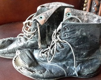 Antique Children's black leather shoes vintage tattered lace up boots Cute!