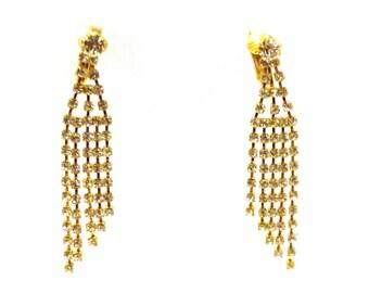 CLIP-ON Earrings Dangle Earrings Gold Tone Rhinestone Crystal Earrings 2.5 in long Hypo-Allergenic Earrings