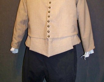 Doublet Brown Wool detachable sleeves Heather Parchment Jacket SCA Renaissance XL