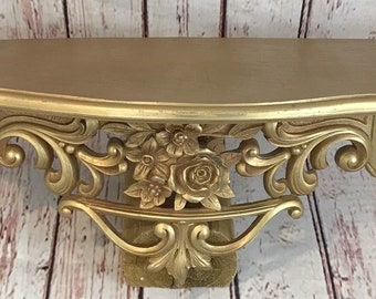 Vintage 1969 Dart Ind.3025  Ornate Gold Hollywood Regency Hanging Wall Shelf
