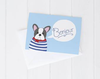 Greeting card, everyday, french bulldog, frenchie, hello, bonjour, French