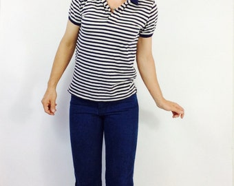 Blue and white striped t shirt striped sailor shirt striped shirt french shirt vintsge ralph lauren shirt t shirt with stripes s nautical