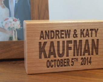 "Engraved Anniversary Block - 3x5"" Cherry or Walnut Wood - Perfect Anniversary Gift Wedding Gift - Wedding Plaque"
