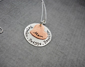 Mothers necklace personalized, Sterling Silver Mothers Necklace, Kids Names necklace, Personalized Jewelry For Mom, Necklace Gift Mom
