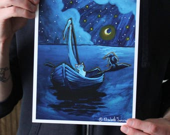 Cat and Crow in a Boat; Fine Art Print
