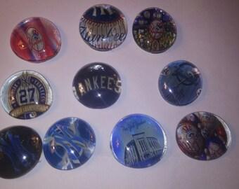 Set of 10 MLB baseball NY Yankees New York Yankees glass gem bubble magnetsw