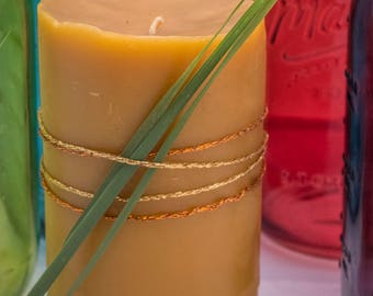 Raw beeswax candles