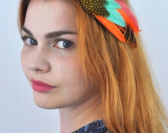 Tropical Feather Hair Clip in Orange and Turquoise | Feather Headpiece | Festival Hair Clip | Feather Fascinator | Tropical Headpiece