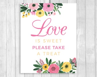 Love is Sweet Please Take a Treat 5x7, 8x10 Printable White Bridal Shower Candy Buffet Sign - Pink and Yellow Watercolor Flowers