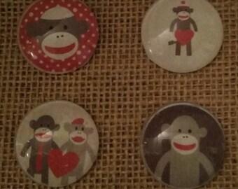 Valentine Sock Monkey - Sock Monkey Magnets - Valentines Day Magnets - Refrigerator Magnets - Gift Giving - Valentines Day Decor