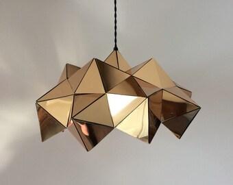 Gold Mirror Half Geometric Sculptural Pendant Light