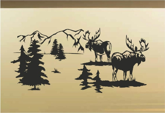 Moose Animal Vinyl Wall Art Decal Rustic Cabin Lodge Mountains