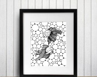 Dance of The Goldfish - Aquarium Inspired Ink Drawing - Art Print