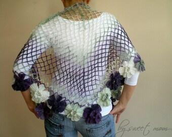 Crochet  Shawl in Lilac Purple Green, Wedding Bridal Shawl