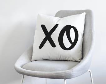 XO Modern Handlettered Pillow Cover- Velveteen Soft, Black and White Design