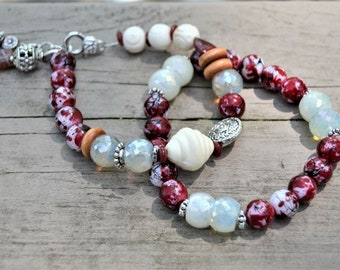 DEEP RED and CREAM Crystal Bone Silver Bead Bracelet Set of Two Matching Stacked Bracelets with Charms