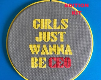diy kit, cross stitch kit, girls just wanna be CEO, feminist, cross stitch, modern cross stitch, easy, beginner, special edition kit