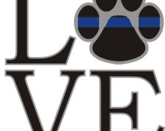 "Thin Blue Line Love K9 Paw Reflective 4"" Decal SKU: D615-0002"
